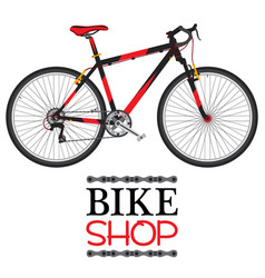 Bike shop with red bicycle in flat style vector