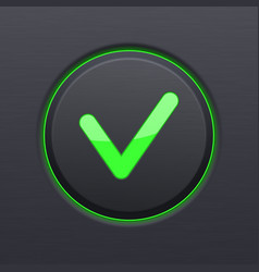 Black ok button with green check mark vector