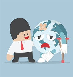 Businessman help injured planet earth vector