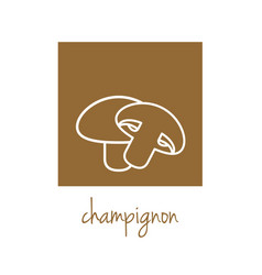 Champignon icon on brown square vector