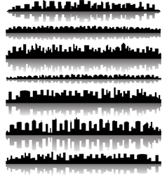 Cityscape silhouette city panoramas vector image vector image