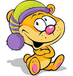 cute bear with cap sitting on white background - vector image vector image