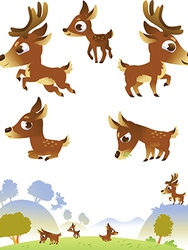 Deer family isolated on white background vector image vector image