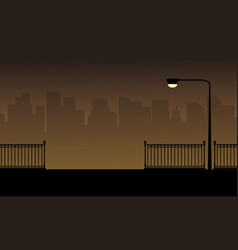 Fence and lamp on the street beauty landscape vector