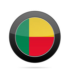 Flag of benin shiny black round button vector