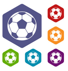 football soccer ball icons set hexagon vector image vector image