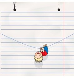 Fun boy hanging on the rope childs notebook page vector image vector image