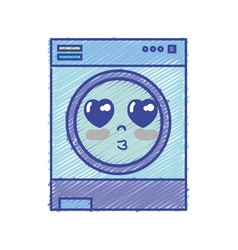 Kawaii cute in love washing machine vector