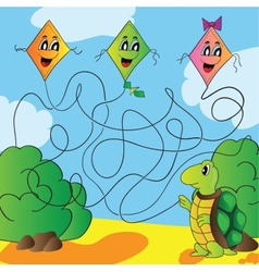 Maze turtle with a kite vector