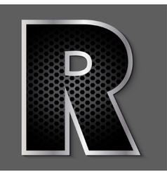 Metal grid font - letter R vector image vector image