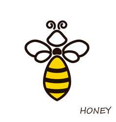 Modern logo bee honey icons honeybee linear flute vector