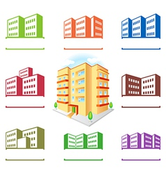 Multistoried building site icons logo set vector image