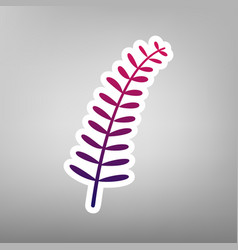 Olive twig sign purple gradient icon on vector