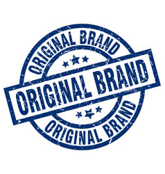 Original brand blue round grunge stamp vector