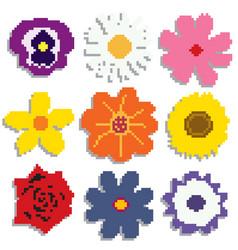pixel flowers set vector image