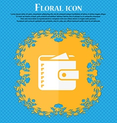 Purse icon Floral flat design on a blue abstract vector image