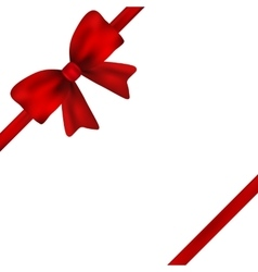 Red gift bow of ribbon isolated on white vector