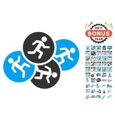 Running Men Icon With 2017 Year Bonus Symbols vector image