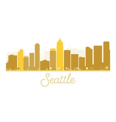 Seattle city skyline golden silhouette vector