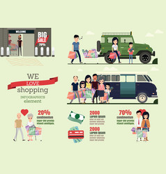 set cartoons character family shopping day vector image