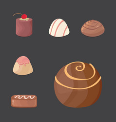 set of chocolate candies cartoon vector image vector image