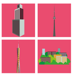 Set of skyscrapers buildings isolated tower vector