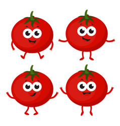 set with cartoon tomato vector image