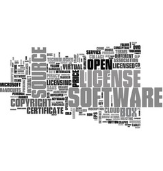 Software license word cloud concept vector