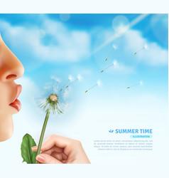 summertime dandelion blow background vector image vector image