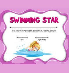 Swimming star certificate template with girl vector