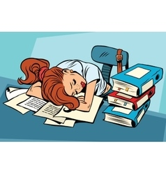 Young woman sleeping at work or school vector image