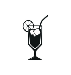 Simple black stylish cocktail icon with ice vector