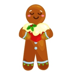 Christmas cookies gingerbread man decorated with vector