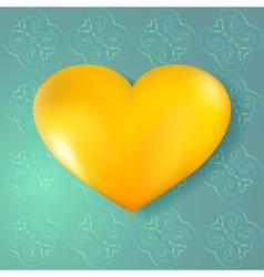 Golden heart on abstract seamless background vector image
