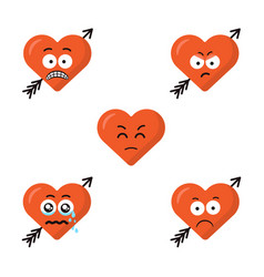 set of flat cute cartoon emoji heart faces with vector image