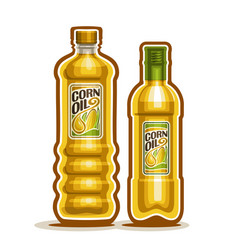 2 yellow bottles with corn oil vector