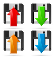floppy icons upload and download on white vector image