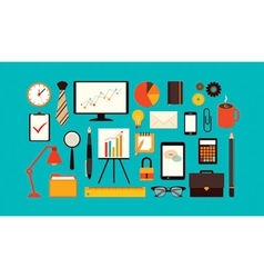 Flat business items vector