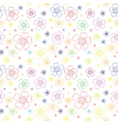 Seamless pattern with outlines of flowers vector