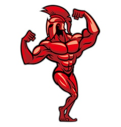 Spartan pose and show his big muscle vector