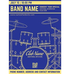 Rock music concert drum set vertical music flyer vector