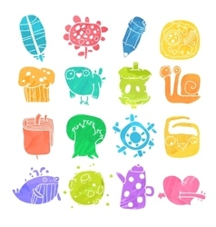 Icons set of watercolor cartoon objects and vector