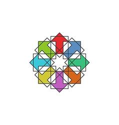 Tech colorful arrows arabic logo mockup design vector