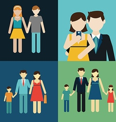 Family flat style people figures parenting parents vector