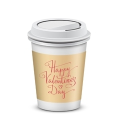 Coffee cup with happy valentines day vector