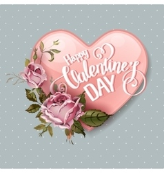 Vintage valentines day greeting card vector