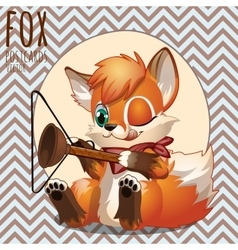 Naughty fox playing with household items vector