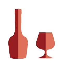 Flat style cognac bottle and glass vector