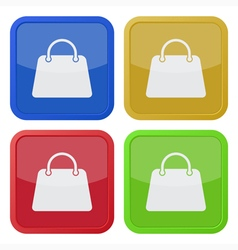 Set of four square icons with handbag vector