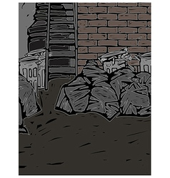 Back street alley scene vector
